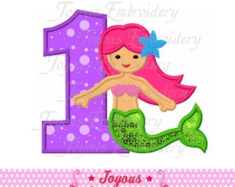 Instant Download Mermaid Number 1 Applique Machine Embroidery Design NO:1750