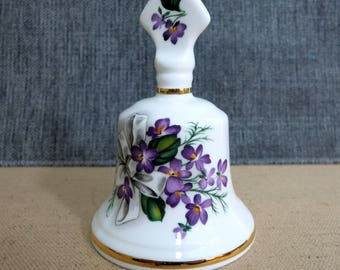 Countess China Bell, Countess Fine Bone China Bell with Violets, Countess Fine Bone Made in England, China Bell with Purple Violets - V225