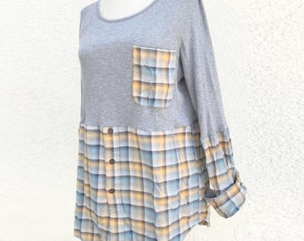 Thermal x flannel plaid cozy cotton shirt top tunic fall chunky warm soft thick boho gypsy upcycled ecofriendly long sleeve gray blue yellow