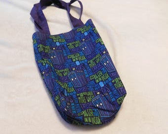comic book tote bag made from Doctor Who bigger on the inside tardis cotton fabric