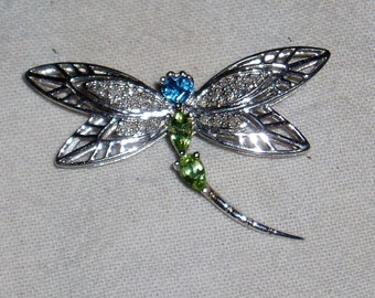 Pin Brooch, Dragonfly, Sterling Silver and Rhinestones