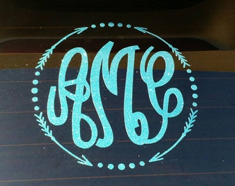 Glitter Vine Arrow Monogram Decal, car decal, yeti decal, glitter monogram, laptop decal, notebook decal (Made to order)