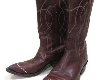 Nocona Cowboy Boots US Men's Size 10 D; Cowboy Boots, Nocona Boots, Western Boots,  Vintage Cowboy Boots, Wing Tip Cowboy Boots