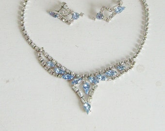 Vintage wedding light sapphire blue and clear crystal rhinestone necklace and earrings silver tone bridal jewelry set screw post