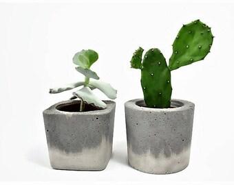 Concrete Square round Planter for Succulent Cactus Grey Urban Industrial Planter Home Decor