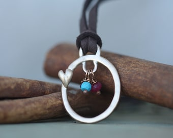 Bronze Endless Love with birthstones hand cast mothers bronze and leather necklace  Ready to Ship
