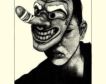 Japanese Tengu Mask Print