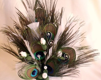 Ivory Peacock Feather Cake Topper Over the Top party Decor Wedding reception accessories centerpiece bridal Crystals rhinestones