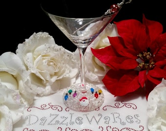 CHRISTMAS MARTINI Glasses Set of 2 - Small Bulbs with SANTA on White-Hand Beaded-Holiday Decor-Wedding-Couture Inspired-Xmas-Hostess Gift