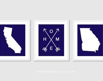 Custom State Prints - Home Print - State Love Print - State Print - Province Print - State Wall Art - Set of 3 prints - The Love Cluster