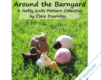 "Knitting Patterns eBook. Farm Animal Toys. ""Around the Barnyard"""