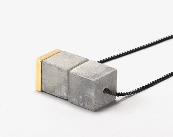Minimal Cube Necklace Concrete Jewelry Minimal Concrete Necklaces For Women
