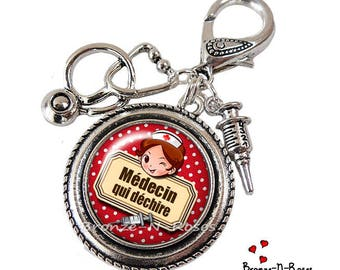 Doctor bag tearing doctor gift silver cabochon