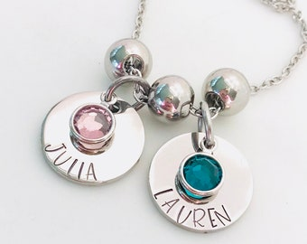 Mother's Necklace With Swarovski Crystals - Gift For Mom - Mommy Necklace - Grandmother Necklace - Personalized Necklace