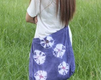 Tie dye cotton tote bag , Indigo bag , Shibori Bag-B025