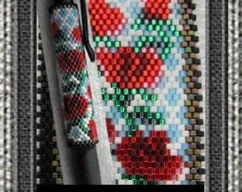 Rose Trellis G2 Pen Wrap - Peyote Beading Pattern