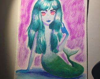 Green Mermaid 4x6 in Watercolor Painting