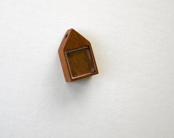 Little house - No laser finished hardwood pendant setting - Various wood types - 19 mm cavity side - (H419)