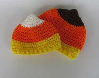 Candy Corn hat~ All Sizes Newborn to Adult Halloween Beanie~Crochet~costumes or baby photography props