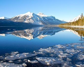 Floating Ice, Winter Day, Icy Shoreline, Montana Lake, Glacier National Park, Lake McDonald, Photograph or Greeting card