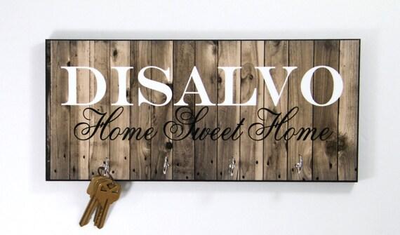 Personalized Housewarming Gift New Home Gift Wood-Look Key Holder Key Rack Hanger Monogrammed Wedding Gift Home Sweet Home Wall Organizer