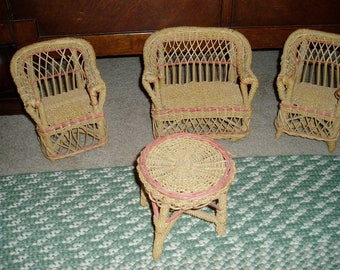 Doll Wicker Furniture/Love Seat/2 Chairs/Coffee Table