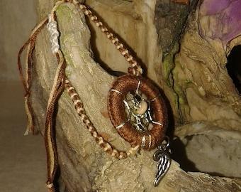 Dream catcher charm Brown wing bracelet