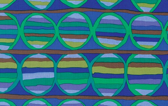 HEAT WAVE Cobalt Blue by Brandon Mably for Kaffe Fassett Collective Sold in 1/2 yd increments