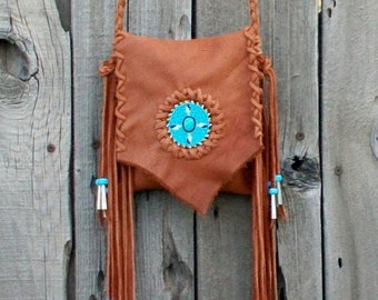 Fringed leather handbag , Beaded ceremony bag , powwow bag , four directional beadwork , beaded eagle feathers