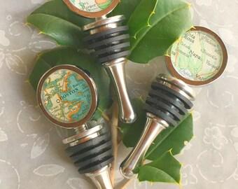 Wine Stopper Custom Map Hostess Gift  Vintage  Atlas  You Choose The  City Housewarming Gift for Traveler