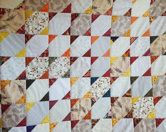 Large Rustic Throw Quilt, Fall Wedding Guest Book Quilt, Rustic Wedding Quilt, Rustic Autumn Lap Quilt, Guest Book Alternative Quilt