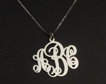 Monogram Necklace Silver, Script Monogram Necklace, Initial Monogram Necklace, Personalized Necklace, Letter Monogram Necklace, Initial Gift
