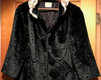"""Black Faux Persian Lamb Jacket with Rabbit Fur Collar from """"Styled by Winter"""" clothing company."""