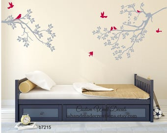 vinyl wall decal Cherry Tree blossom  home wall decal wedding gift custom colors large