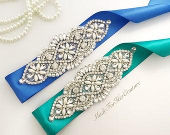 Blue Wedding dress sash-Blue wedding Sash Belt-Blue Pearl Crystal Sash-Blue belt sash-Jade Bridal Sash-Jade wedding sash belt- Teal