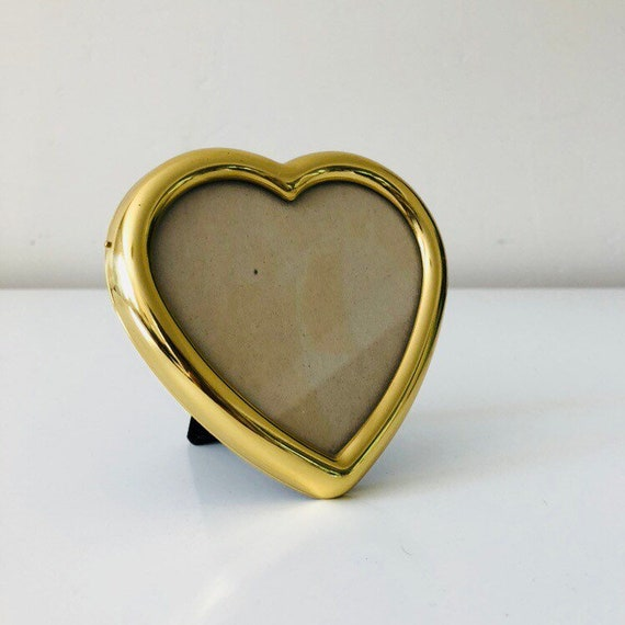 Vintage Brass Heart Frame Small Heart Shaped Gold Picture Frame Made in Korea