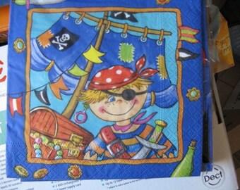 set of 2 napkins child pirate 33 x 33