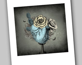 Heart is a Lonely Cactus Rose, Vintage Gothic Surrealism Fantasy, Fine Art Print, 8x10
