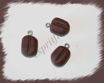 """Coffee bean"" charm in polymer clay"