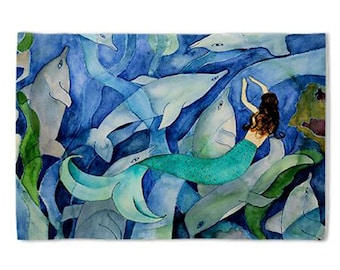 Dolphin & Mermaid Party Pillow Case from my original art