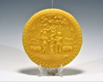 Adam and Eve Beeswax Springerle Beeswax Christmas Ornament Beeswax Religious Ornament Beeswax Easter Ornament Folk Art Ornament