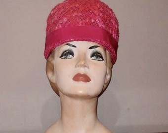 1960's Cloche Straw Hat with Grosgrain Bow Trim