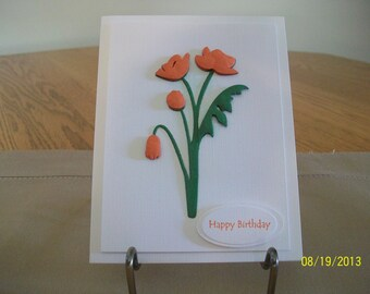 Elegant Orange Poppy Birthday Card