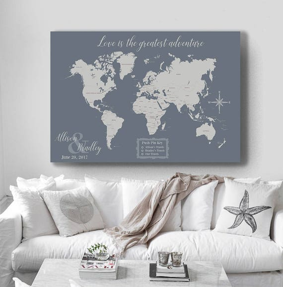 Map your travels 9 10 world designs to decorate a plain wall world travel map map your travels canvas pushpin map wedding gumiabroncs Gallery
