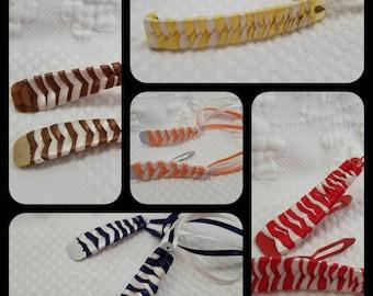Set of 7 pairs RIBBON BARRETTES multicolored