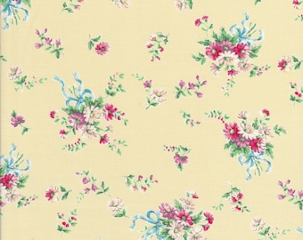 Floral Bouqet Fabric - Daisy Fabric - Bow Fabric - Yellow Fabric - Dear Little World Bunny - Quilt Gate