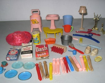 Lot of Vintage Dollhouse furniture and accessories