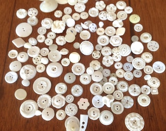 150 Vintage White Plastic Buttons, Plain and Fancy, Sets and Singles