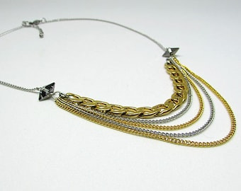 Short necklace - stainless steel - Swarovski Crystal