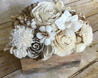 "Eco-Friendly, Sola Wood Flowers,Balsa wood,Wedding Centerpiece,Wood Box-Natural White & Brown-Home Decor-Gift-6.5"" long, 4"" wide, 7.5"" tall"
